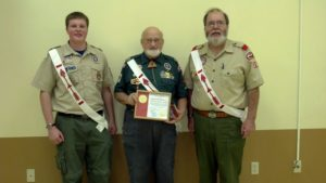 Joe Strigle (right) is pictured with former lodge chief Mike Cavanaugh and George Walters (center) as they present Walters with the Founders' Award at the Family Banquet in 2012